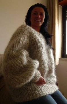 Hand Knitted Long hair Mohair Fuzzy Sweater Pullover by LanaKnittings