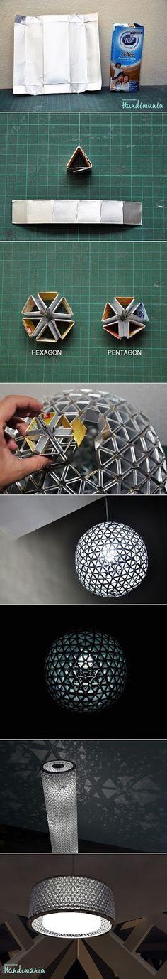 Luminária com caixa de leite - *Decoração e Invenção*                                                                                                                                                                                 Mais