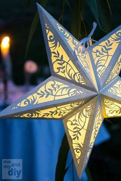 Paper Star Lantern with Floral Cutouts - SVG Cutting Files