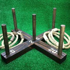 Sale: Rustic Ring Toss Outdoor Yard / Lawn game with 6 rings - free and QUICK shipping - Over 375 ring throws sold on Etsy! A perfect gift for any garden game lover! Super popular for wedd - Diy Yard Games, Diy Games, Backyard Games, Outdoor Yard Games, Outdoor Games For Adults, Outdoor Toys, Outdoor Camping, Giant Outdoor Games, Outdoor Play