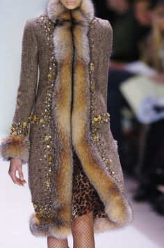 Crystal fox fur trimmed coat