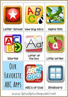 Apps for learning the alphabet and how to organize their use.