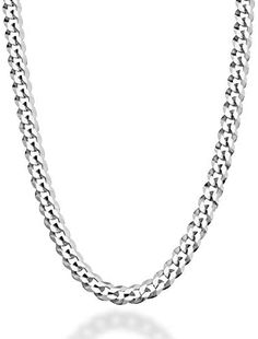 MiaBella Solid 925 Sterling Silver Italian 5mm Diamond Cut Cuban Link Curb Chain Necklace for Women Men, 16, 18, 20, 22, 24, 26, 30 Inch Made in Italy