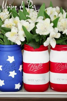 American Flag Mason Jars doing this for my mom, she is the most patriotic person i know