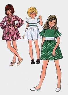 1970s Butterick 6965 Girls RETRO Empire Dress 70s Vintage Sewing Pattern Size 12 Breast 30