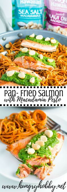 Pan Fried Salmon with Macadamia Arugula Pesto served on top of a bed of pesto carrot noodles is a delicious one pan dinner served in less than 30 minutes! Paleo Friendly #Sponsored #royalhawaiianorchards via @hungryhobby