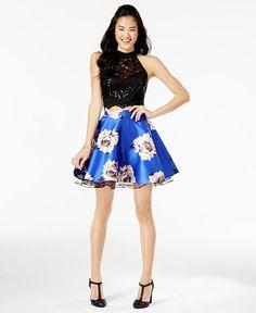 f77f63c5cf City Studios Juniors  2-Pc. Lace Floral-Print Dress   Reviews - Dresses -  Juniors - Macy s