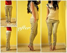 How to turn oversized pants into skinnies (i've done this to a few pair of pants already. awesome idea)