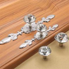 Glass Diamond Crystal Dresser Knobs Drawer Furniture Pull Handle Cabinet Door #Unbranded