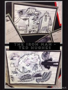 Class 4 (Years 3 and Artwork inspired by The Iron Man by Ted Hughes. The children created these pictures by sketching with a black felt tip, before using a wet brush to sweep over certain parts of their picture.