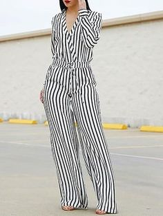 Shop Striped Wrap Waist Wide Leg Jumpsuit right now, get great deals at joyshoetique Chic Outfits, Pretty Outfits, Fashion Outfits, Womens Fashion, Long Jumpsuits, Jumpsuits For Women, One Shoulder Jumpsuit, African Fashion Dresses, Beautiful Dresses