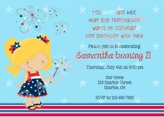 4th of july birthday invitation  choose your girl  by jcbabycakes, $12.00