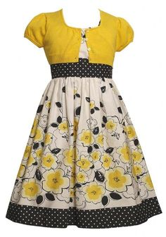 Bonnie Jean Yellow Floral and Dot Border Print Dress