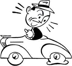 Retro Car Trouble Clip Art - The Graphics Fairy