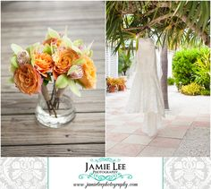 Naples Beach Hotel | Naples Wedding Photographer | Jamie Lee Photography | Bride Getting Ready | Tropical Orange Mini Bridesmaid Bouquets by Grace Lakes Florist | Wedding Gown Hanging from Tree