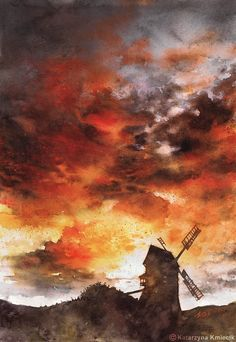 'Windmill and the Sunset Sky', dramatic red sky watercolor painting by Katarzyna Kmiecik (Poland), 2016.