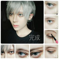 - Beauty World Anime Eye Makeup, Anime Cosplay Makeup, Male Makeup, Body Makeup, Makeup Tips, Beauty Makeup, Male Cosplay, Cosplay Diy, Maquillage Cosplay Anime