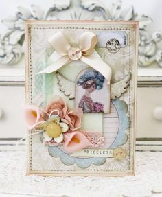 Shabby chic card, I love these colors!