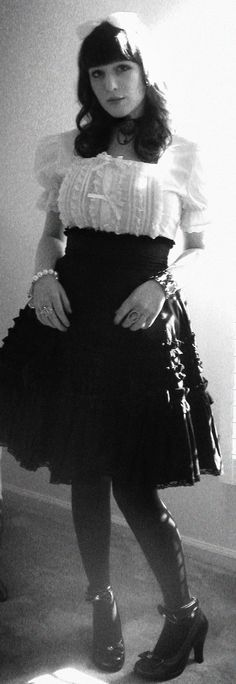Black and white photo, of black and white Lolita styled dress.