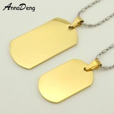 CHIMDOU 2016 Gold Color Dog Tag Stainless Steel Pendant Necklace metal stamping blanks tags military Soldiers rock KJP22 #Affiliate