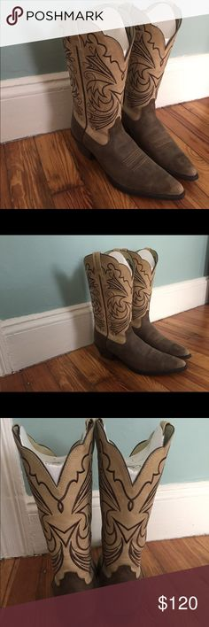 Never worn tan and brown women's cowboy boots Beautiful women's cowboy boots from Ariat have never been worn. Ariat Shoes Heeled Boots