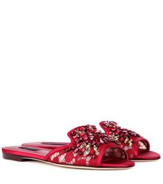 Dolce & Gabbana - Embellished lace slippers - We love these delicate lace slippers from Dolce & Gabbana, accented with sparkling crystal embellishment. The red hue styles perfectly with light-toned separates. seen @ www.mytheresa.com