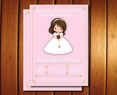 Girl First Communion Invites, Floral First Communion Invites, Spanish Communion Invitations Available Printable Invitations, Invites, Holy Communion Invitations, Candy Bar Wrappers, First Holy Communion, Text Color, Printing Services, Party Planning, Floral