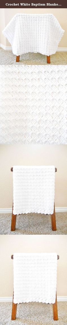 """Crochet White Baptism Blanket, Crochet White Baby Afghan 30"""" X 34"""", Gender Neutral Baby Shower Present. Hand made white crochet baby blanket. This unisex blanket would be perfect for a baptism, christening or baby shower gift. Made in easy care white acrylic yarn. The blanket measures approximately 30 X 34 inches. Machine wash and dry on delicate or lay flat to dry. Made in a smoke free home. Please allow 2 - 3 weeks for this item to be handmade for you."""