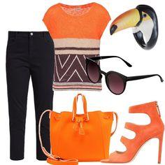 Il maxi bijoux è un anello in vetro che rappresenta un tucano con i suoi colori. I jeans, quindi, sono neri e a sette ottavi. La t-shirt in cotone e lino è a fantasia e i colori prevalenti sono nero e arancione. La borsa a secchiello è in similpelle arancione. Dello stesso colore i sandali con tacco a spillo chiusi da una cerniera posteriore. Gli occhiali da sole, infine, hanno la montatura nera.