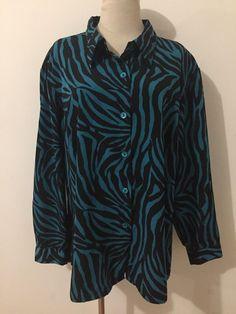 8bba17062c1d Susan Graver Style Button-Front Shirt Blouse Black & Teal Animal Print Size  2X #