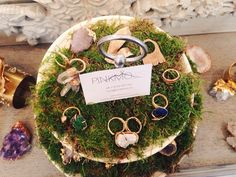 PinkMoss jewelry in MLH showroom. Crystals, silver and gold rings and geodes.