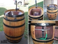 diy outdoor projects You can make many furniture with wine barrel, such as coffee table, cooler, pet bed that we have featured. Here is another creative idea -- Turn A Wine Backyard Projects, Outdoor Projects, Diy Projects, Backyard Ideas, Wine Barrel Sink, Wine Barrels, Water Barrel, Bar Deco, Barris
