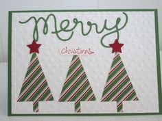 Christmas Card - using Stampin' Up Tree Punch, Merry Mini Star Punch, Expressions Thinlits, Decorative Dots Embossing Folder, Trim the Tree DSP and Good Greetings stamp set