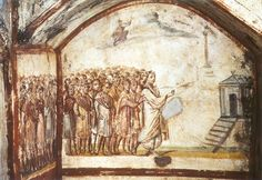 Stock Photo : Fresco in Via Latina Catacomb, Rome, Italy, century BC Early Christian, Christian Art, Ancient Ruins, Ancient Art, Fresco, Jesus Ressuscité, Fall Of Constantinople, Rose Croix, Byzantine Art