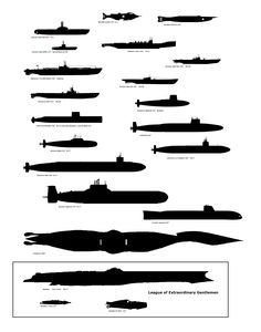 The Nautilus size as compared to other submarines, real and fictional. (This was done by one of my fine nautilussubmarine forum buddies years ago and I'll credit him here if I run across his name again. Anyway, thanks.)