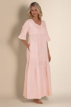 Anastasia Gown I - Long Cotton Night Gown, Sleep Gown | Soft Surroundings