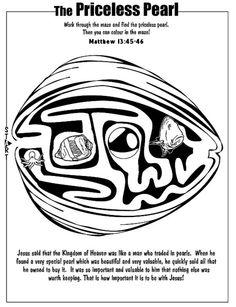 Gelijkenis van de kostbare parel doolhof // Parable of the priceless pearl maze Kids Church, Church Ideas, Toddler Bible, Parables Of Jesus, New Testament Bible, Oldest Bible, Book Of Matthew, Bible Coloring Pages, Christian Crafts