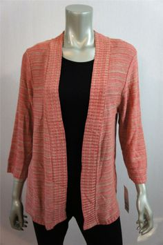 c714844b779470 Elementz Tan & Pink/Coral Blend Open Front Cardigan Sweater Sz XL Open  Front Cardigan