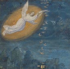 'Announcing Angel' from 'Emerson-White Book of Hours, Ghent ca. 1480 (LA, J. Paul Getty Museum, Ms. 60, recto)