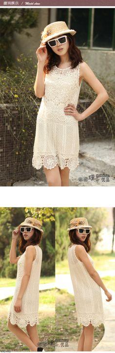Crochetemoda: Vestido de Crochet Marfim