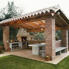 Pergola For Small Patio Info: 9995773657 Backyard Kitchen, Summer Kitchen, Outdoor Kitchen Design, Kitchen Rustic, Outdoor Kitchens, Bar Kitchen, Kitchen Dinning, Out Door Kitchen Ideas, Outdoor Kitchen Bars