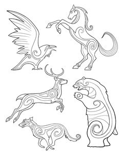 pictish animals...leather carving