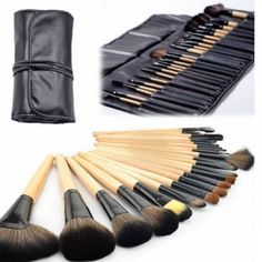 Professional 24 Piece Makeup Brush Set With Case - Save 87% off retail only $22 - Comes in black, brown and pink!