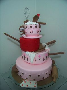 Kitchen Utensils Cake Adorable for a hpusewarming Pretty Cakes, Cute Cakes, Beautiful Cakes, Amazing Cakes, Fondant Cakes, Cupcake Cakes, Chef Cake, Specialty Cakes, Novelty Cakes