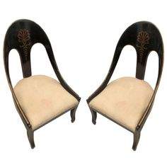 Pair of Hand-Painted and Ebonized Regency-Style Tub Chairs | From a unique collection of antique and modern slipper chairs at http://www.1stdibs.com/furniture/seating/slipper-chairs/