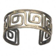 Antiqued Brass Open Greek Key Cuff Wide Bangle Bracelet