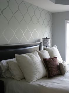 High gloss paint accent wall - master bedroom. Love the colors for this wall