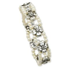 Silver-tone Crystal/Cultura Glass Pearl Double Strand Stretch Bracelet Jewelrypot. $34.99. 30 Day Money Back Guarantee. 100% Satisfaction Guarantee. Questions? Call 866-923-4446. Your item will be shipped the same or next weekday!. All Genuine Diamonds, Gemstones, Materials, and Precious Metals. Fabulous Promotions and Discounts!. Save 45% Off!