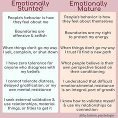 Healthy relationships 681943568566129827 - emotionally stunted vs emotionally mature Source by zclaassens Mental And Emotional Health, A Silent Voice, Psychology Facts, Health Psychology, Behavioral Psychology, Psychology Experiments, Personality Psychology, Educational Psychology, Behavioral Therapy