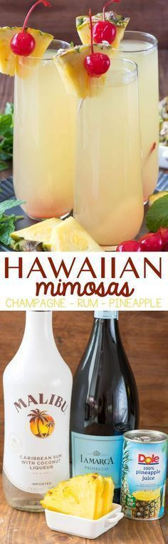 Hawaiian Mimosas - this easy cocktail recipe has just three ingredients and will make you think you're on a beach in paradise. Pineapple, Rum, and Champagne is all it takes to make this delicious cocktail! #cocktailrecipes